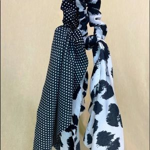 3 pc Scrunchie hair scarfs! Black, white & yellow